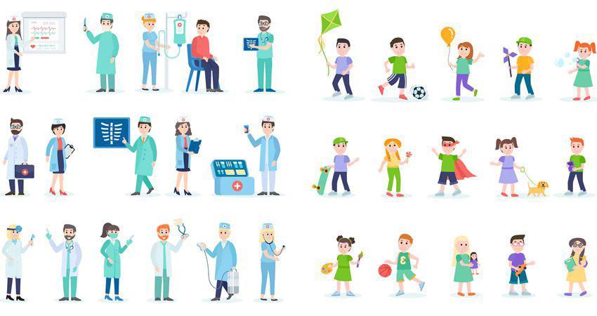 Médicos y niños Personajes de personas planas