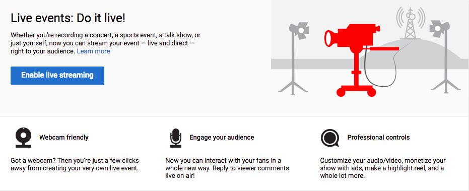 Eventos en vivo de YouTube