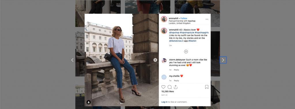 Publicación de Instagram patrocinada por Emma Hill