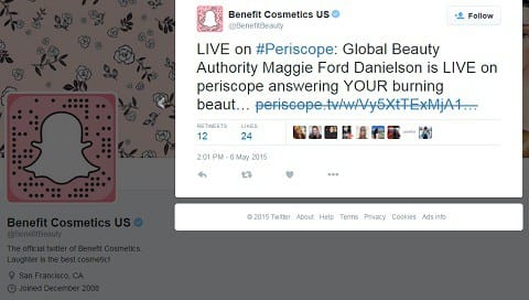 beneficio cosméticos twitter
