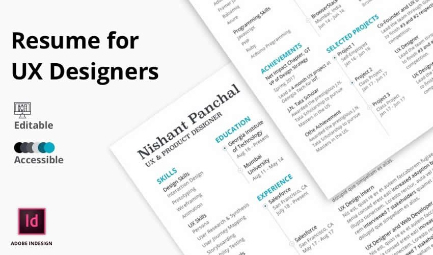 Tiếp tục Resume Adobe Indesign Mall Trải nghiệm người dùng thiết kế UX miễn phí Trải nghiệm người dùng