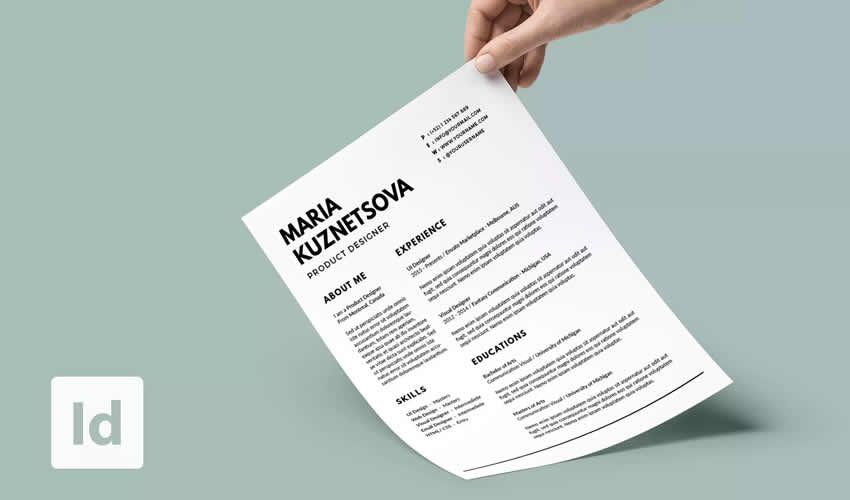 minimal resume cv minimalist indesign adobe şablonu