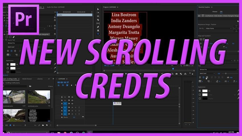 Cómo crear créditos en Adobe Premiere Pro