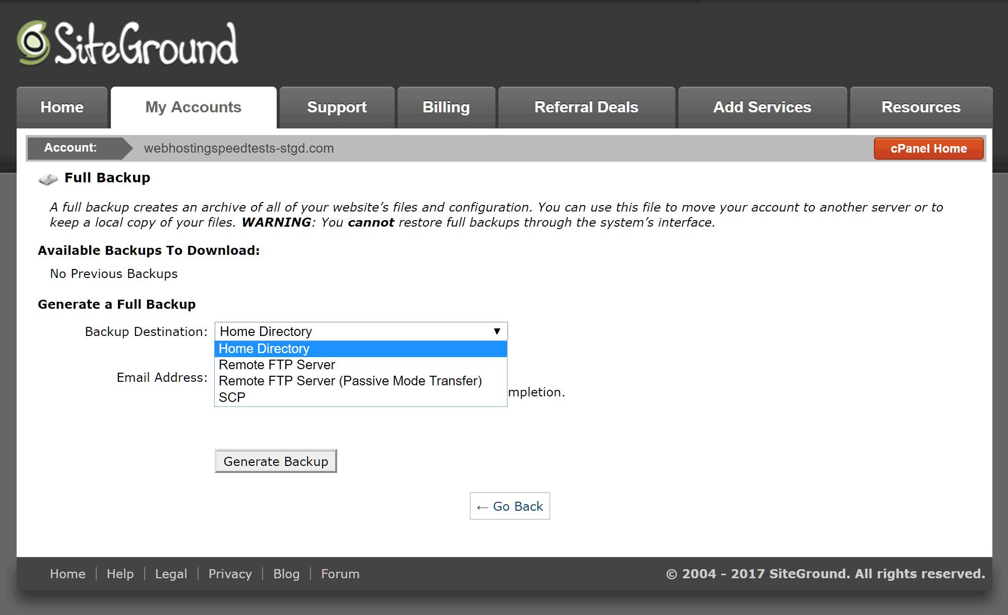 Herramienta de copia de seguridad del sitio web SiteGround