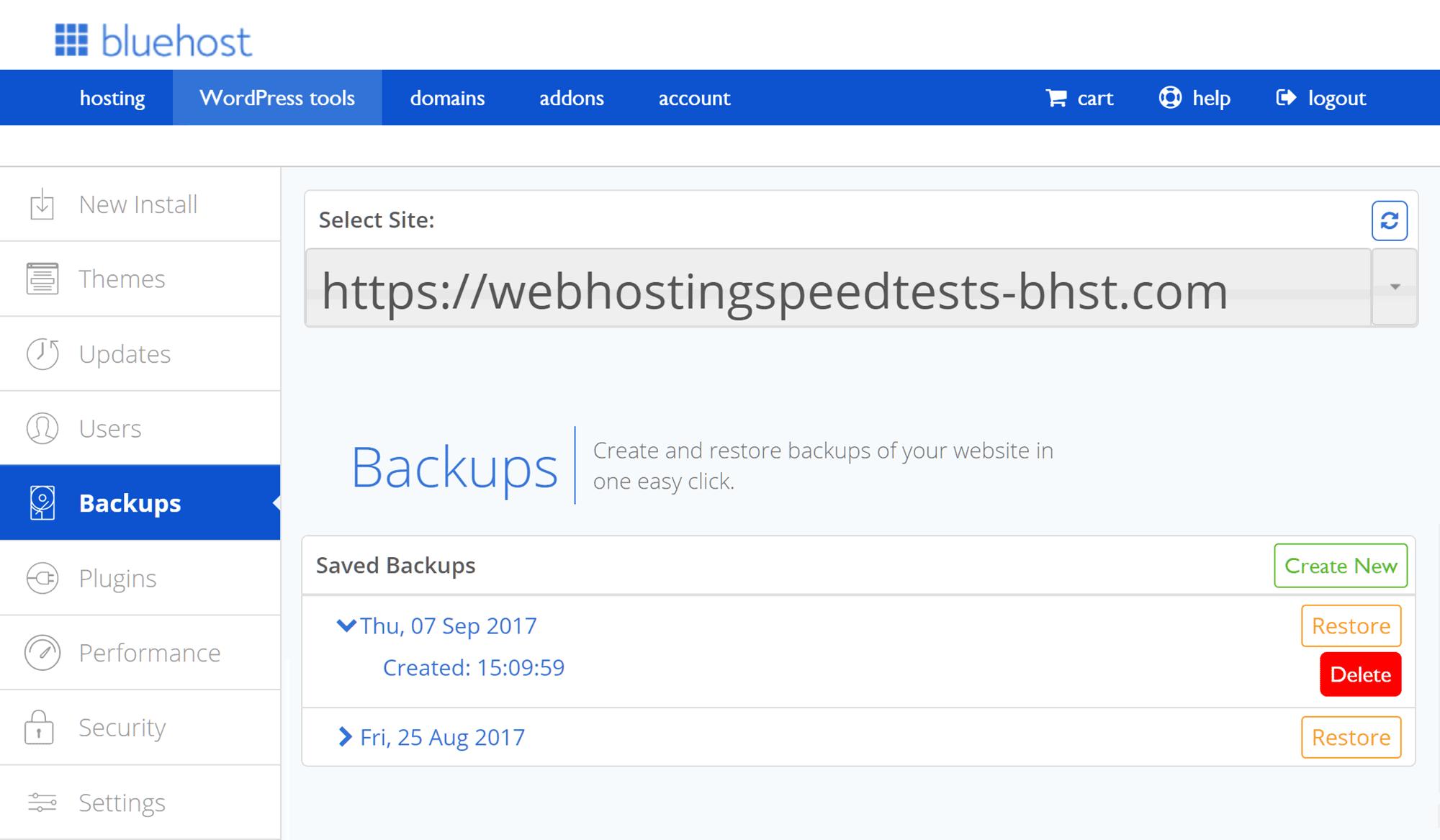 Herramienta de copia de seguridad del sitio web de Bluehost