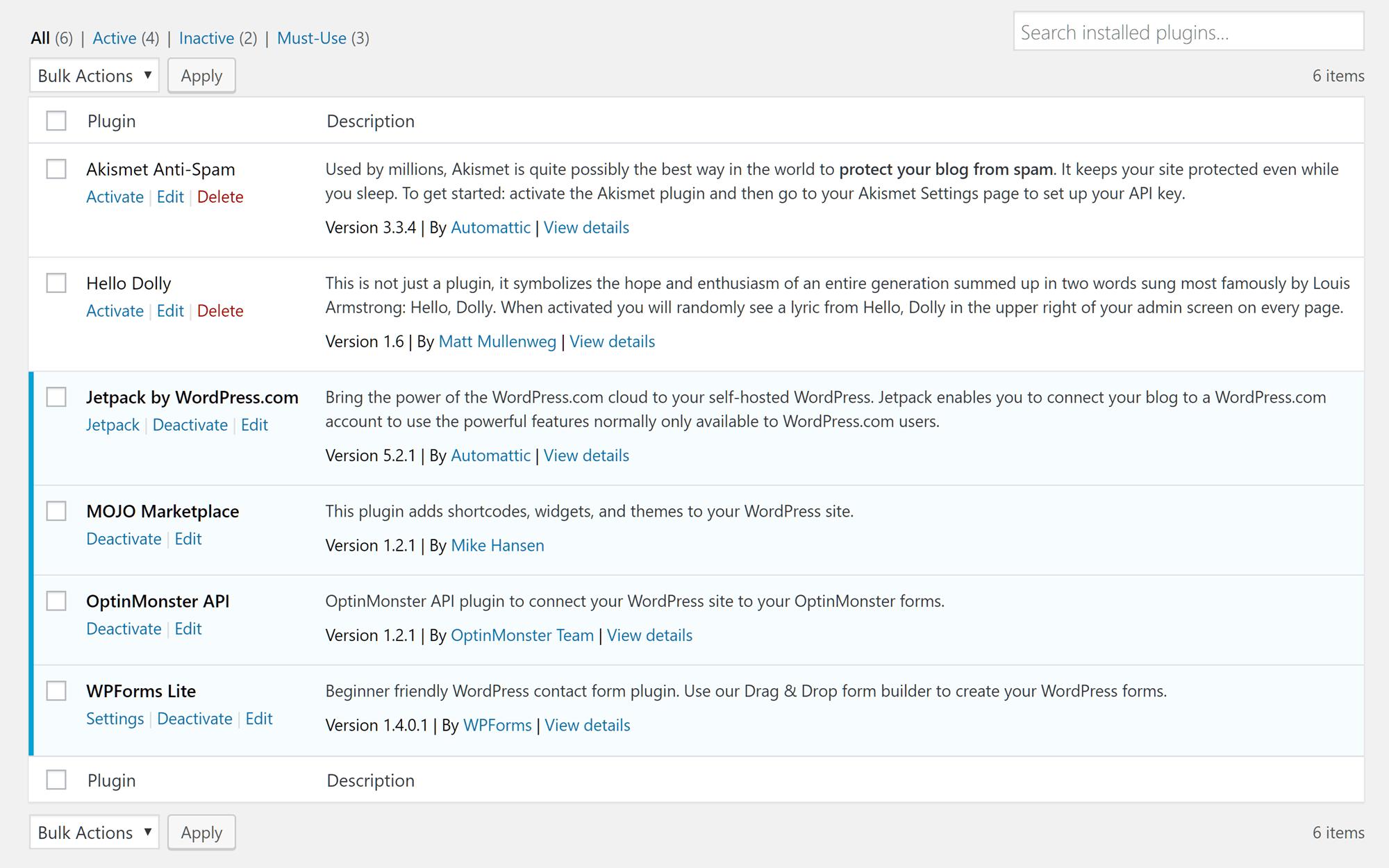 Plugin instalado en un sitio web de Bluehost WordPress