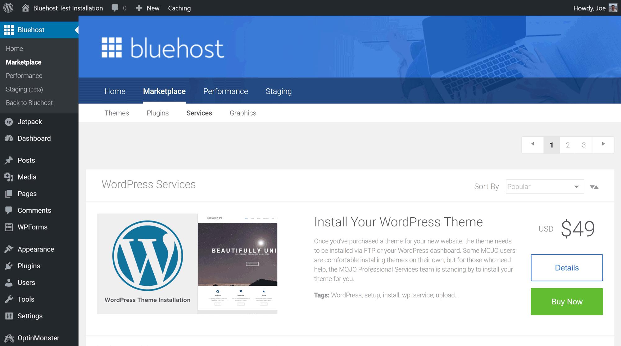 Integración de Bluehost Mojo Marketplace