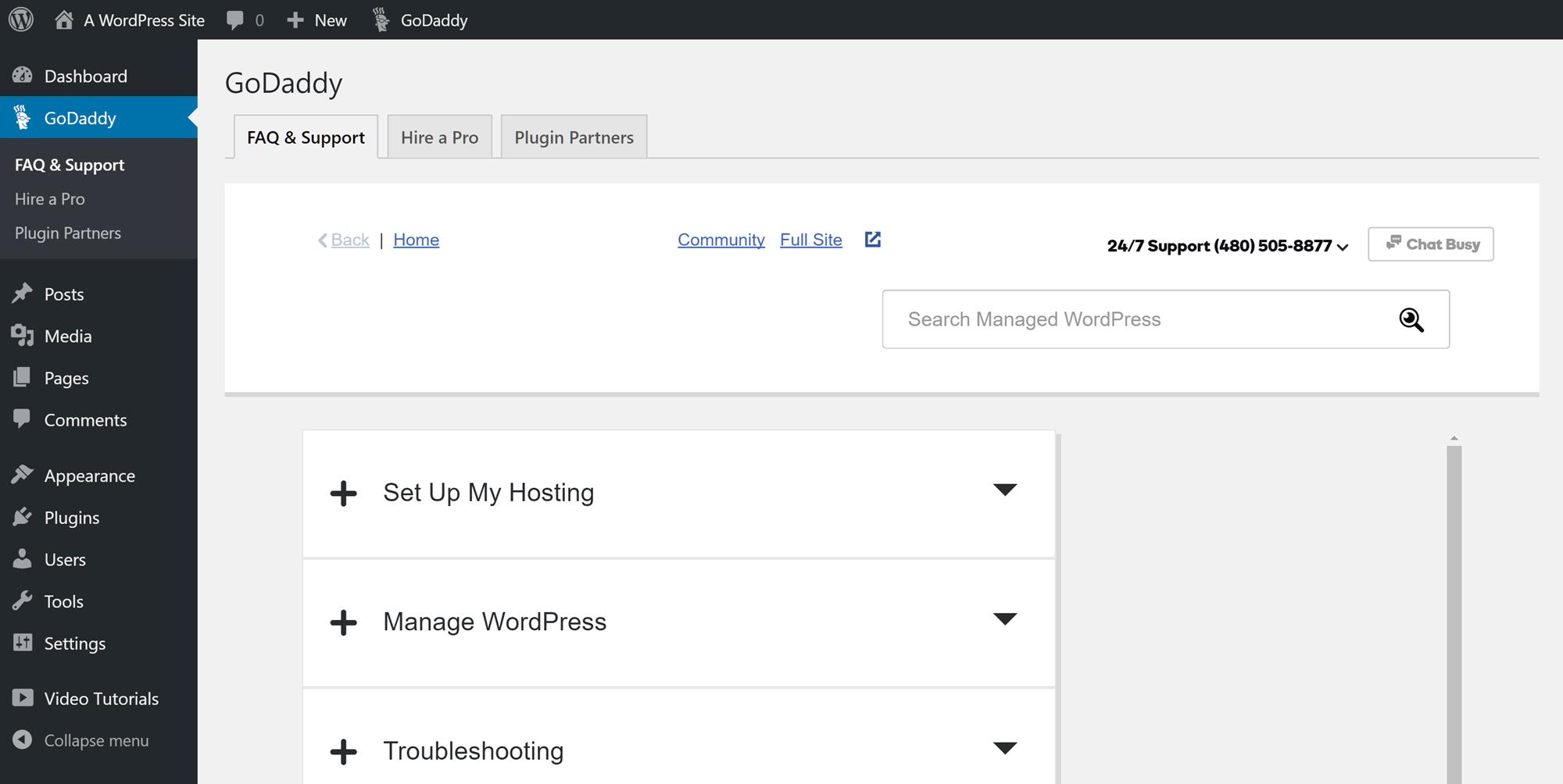 Panel de control GoDaddy del sitio web de WordPress