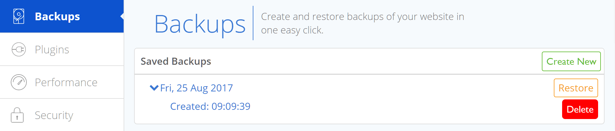 Bluehost WordPress Backup Management
