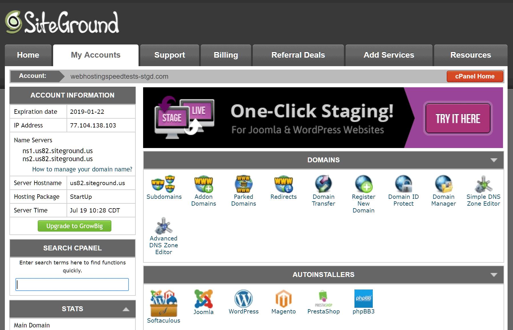 Cuenta de alojamiento de SiteGround cPanel