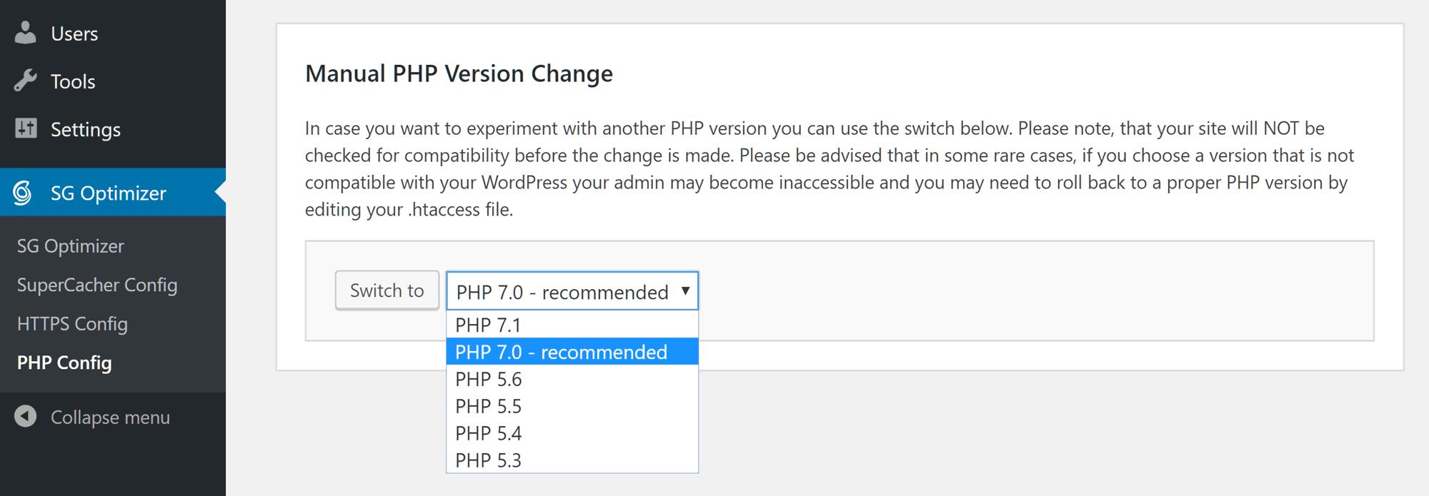 Cambiar la versión de PHP con SiteGround