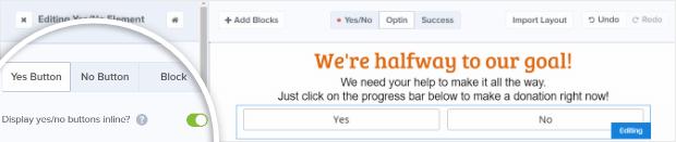 configurar botones para mostrar en línea