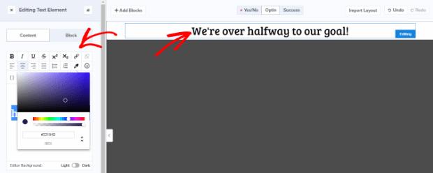 El creador de campañas de optinmonster hace que sea muy fácil editar su campaña