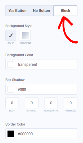 edite el bloque sí / no