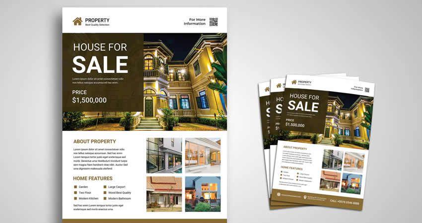 Nehnuteľnosť na predaj Flyer Template Photoshop PSD