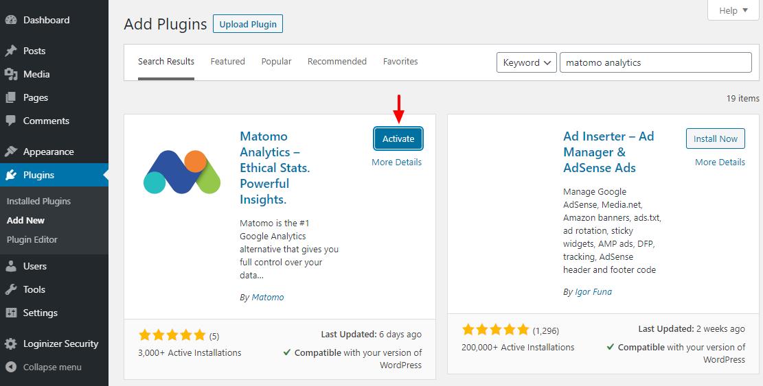 Povoľte doplnok WordPress pre službu Matomo Analytics
