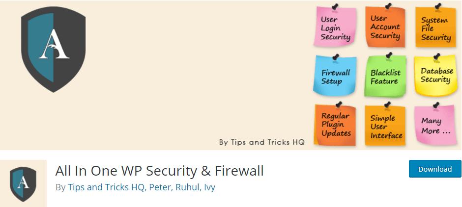 Complementos de WordPress Firewall de seguridad todo en uno WP