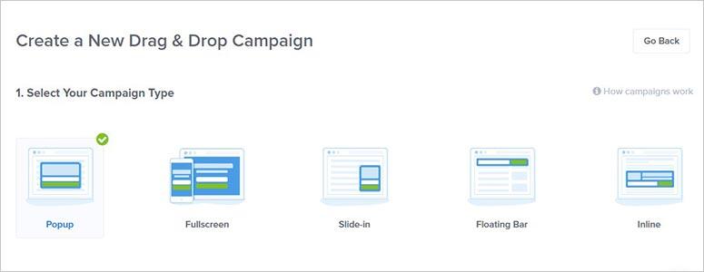 Tipos de campaña de OptinMonster