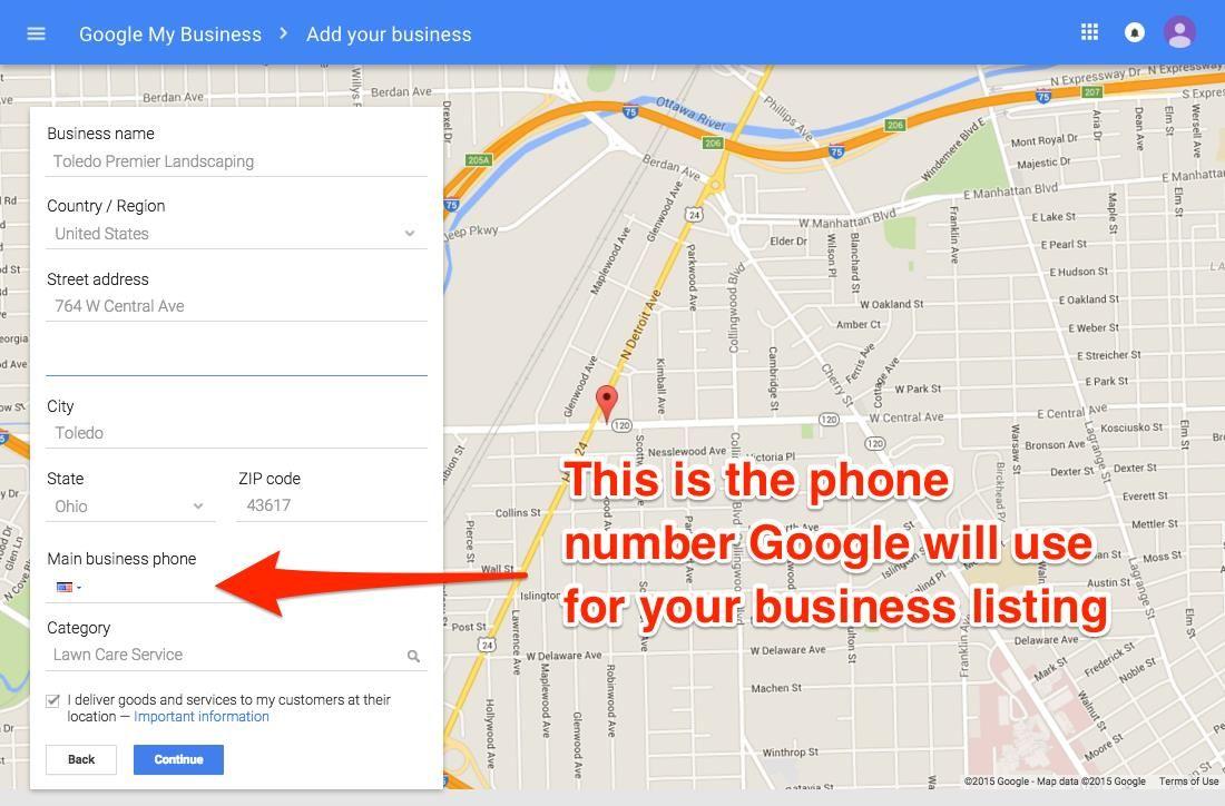 Número de teléfono de Google My Business