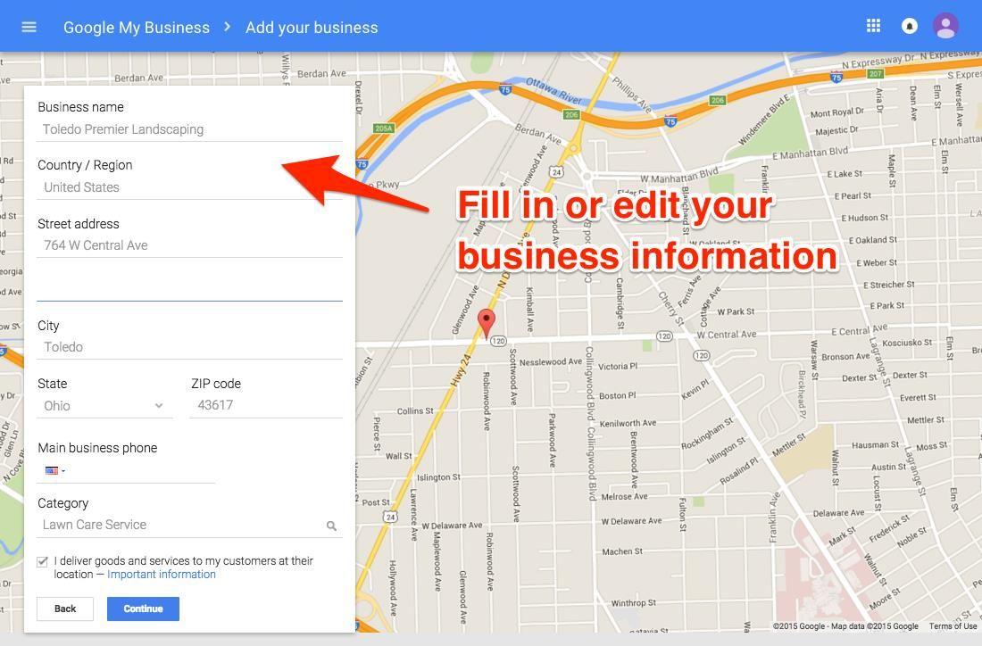 Información de edición de Google My Business