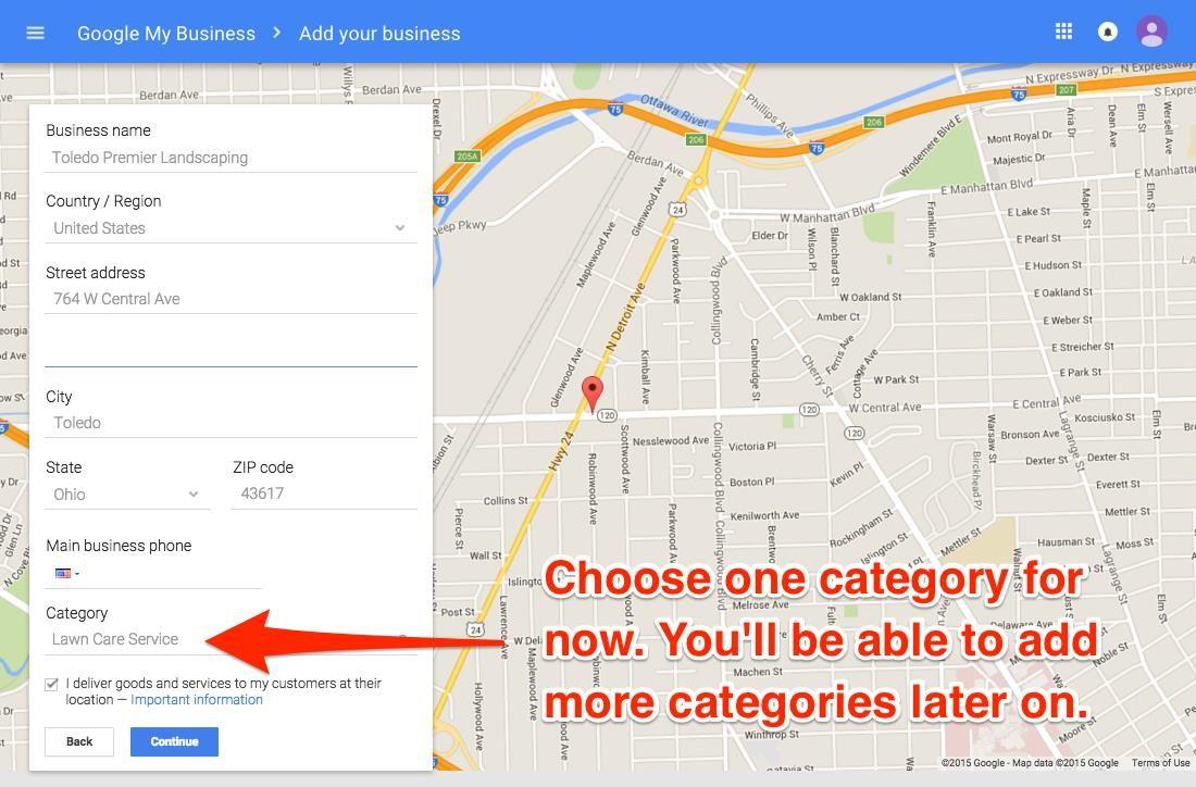 Categorías de Google My Business