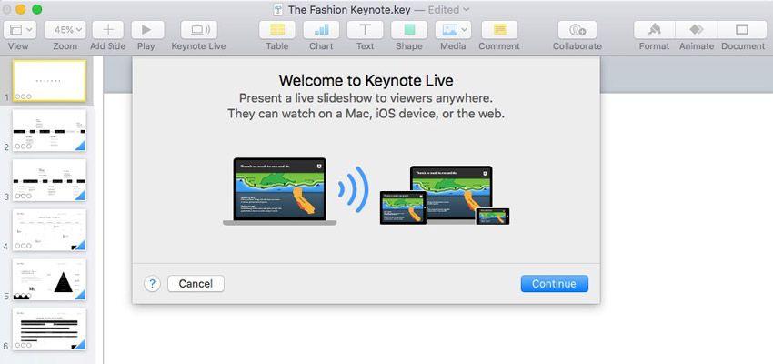 Use Keynote Live para transmitir presentaciones