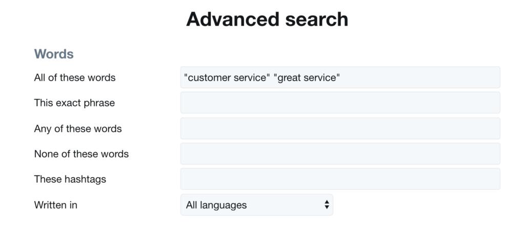 Twitter  Palabras de búsqueda avanzada