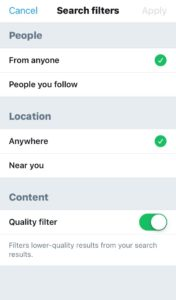 Twitter  Búsqueda avanzada móvil