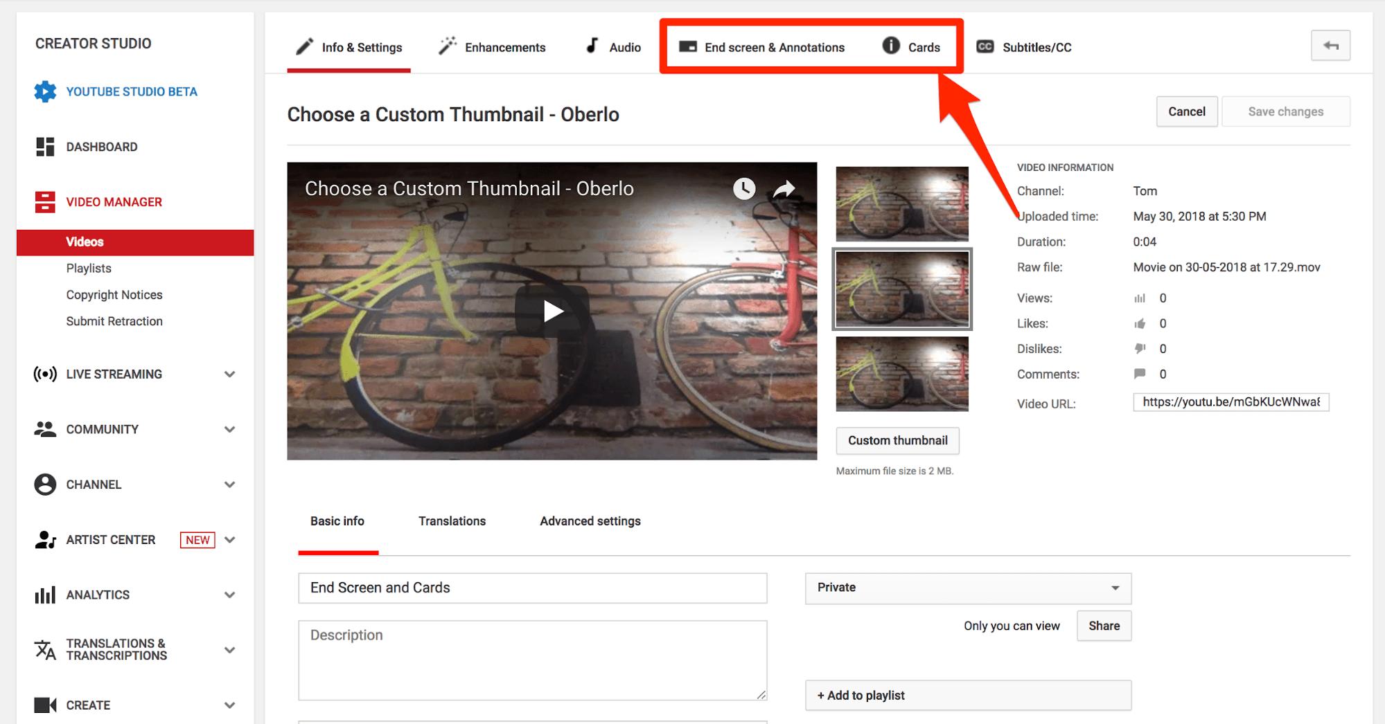 Agregar pantalla final de YouTube y tarjetas