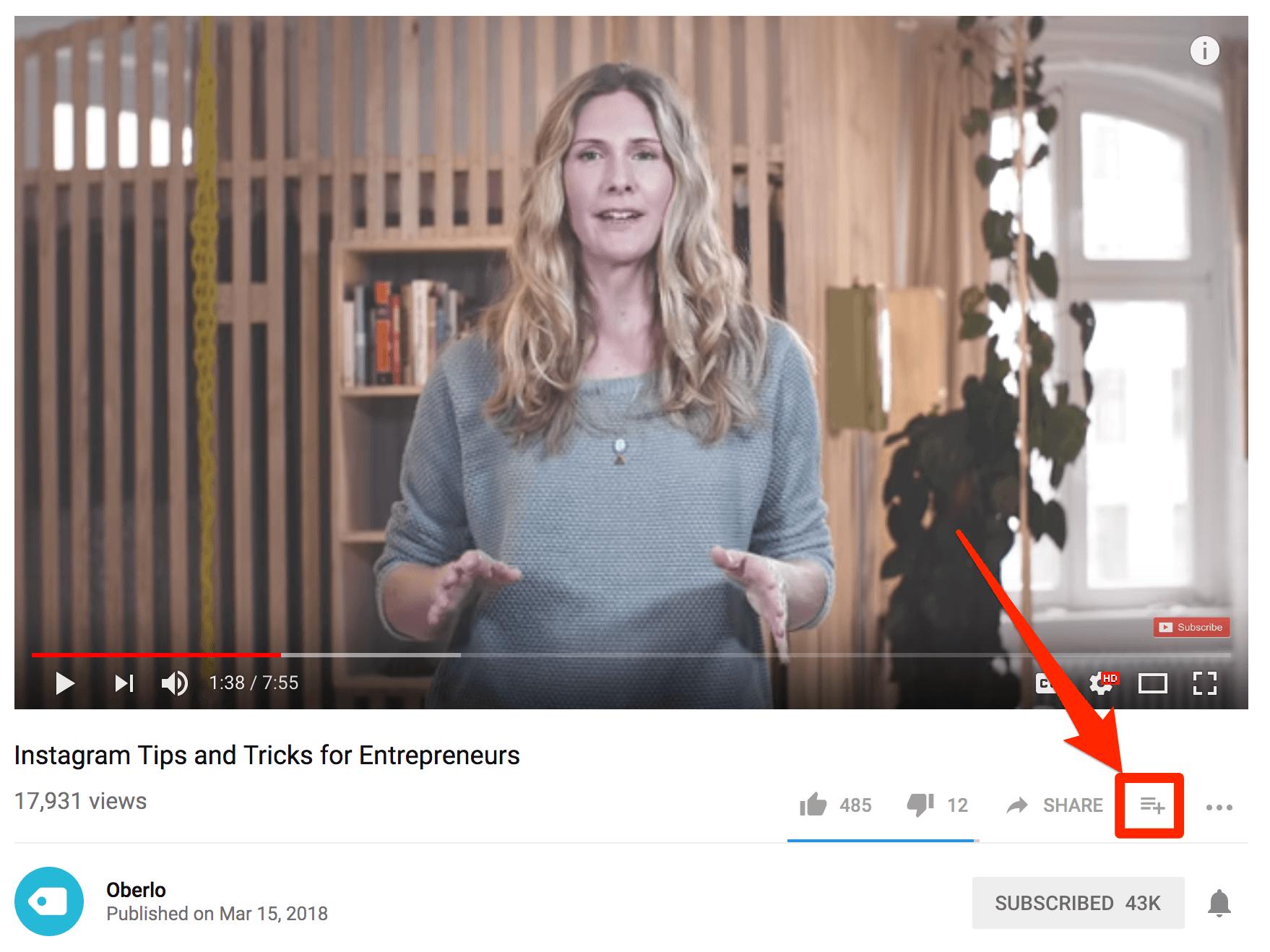Agregar video de YouTube a la lista de reproducción