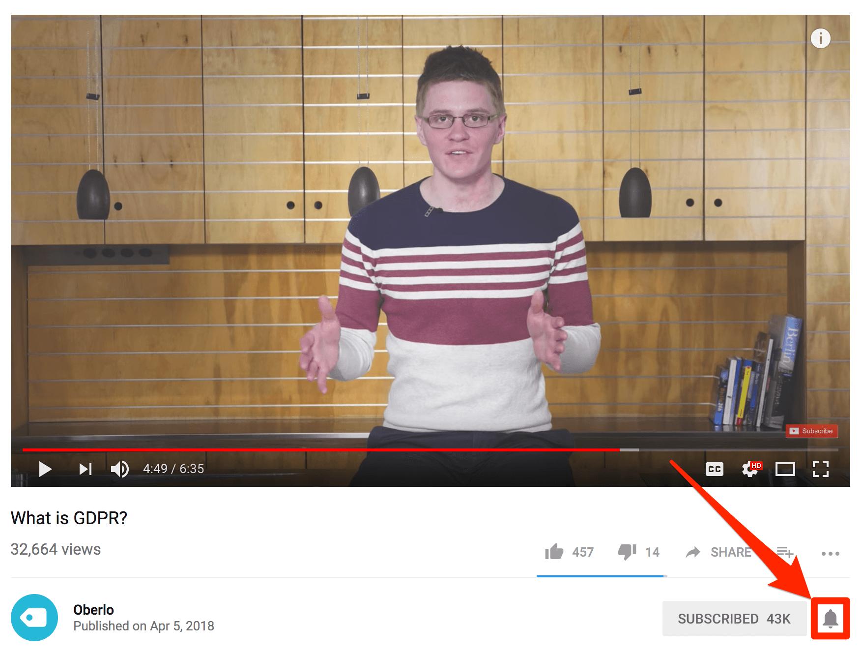 Campana de notificaciones de YouTube