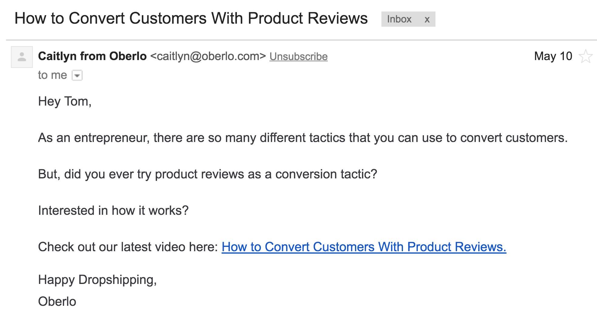 Video marketing por correo electrónico de YouTube