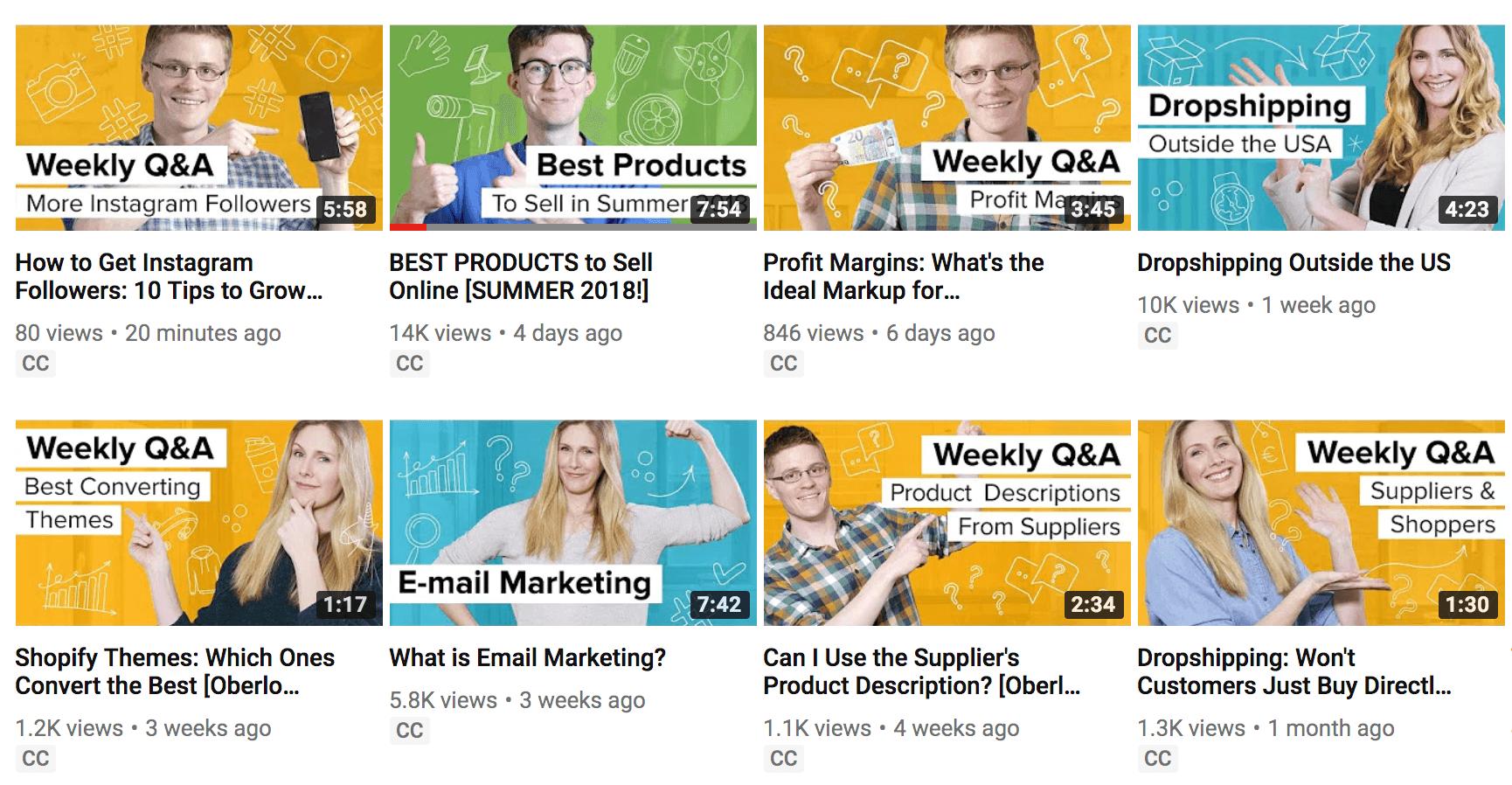 Miniaturas de videos de YouTube