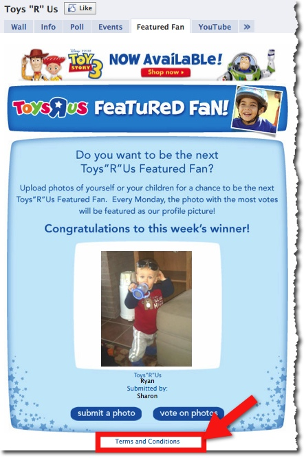 Bild från Toys R Us Facebook tävling