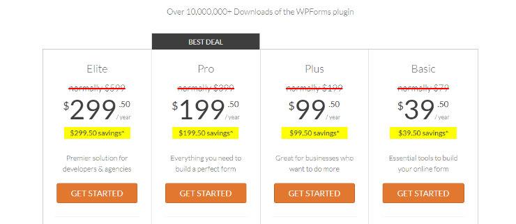 """wpforms-price """"width ="""" 740 """"height ="""" 321 """"class ="""" alignnone size-full wp-image-228963 """"srcset ="""" https://www.isitwp.com/wp-content/uploads/2018/12/ wpforms-price-1.jpg 740w, https://www.isitwp.com/wp-content/uploads/2018/12/wpforms-pricing-1-300x130.jpg 300w """"tamaños ="""" (ancho máximo: 740px) 100vw, 740px """"></p> <p>WPForms ofrece 4 planes de precios diferentes y usted obtiene creación ilimitada de formularios con cada uno de ellos. Si recién está comenzando a construir un sitio web y su presupuesto es limitado, el plan básico comienza en solo $ 39.50 por año para 1 sitio. El plan básico viene con formularios ilimitados, entradas ilimitadas, campos avanzados, plantillas de formulario, integración de correo electrónico y más. </p> <p>Para obtener acceso a todas las características premium de WPForms, como la integración de pagos, encuestas y encuestas, registro de usuarios, abandono de formularios, soporte premium y más, debe actualizar al plan Elite por $ 299.50 por año. </p> <h4>FormStack</h4> <p>FormStack tiene 4 planes diferentes de alto precio para elegir que van desde $ 19 / mes – $ 249 / mes. Cada plan de precios tiene un límite en la cantidad de formularios que puede crear. Por ejemplo, para el plan Bronce que cuesta $ 19 / mes, solo puede crear 5 formularios. Incluso con el plan Platinum que cuesta $ 249 / mes, todavía lo limitan a 1000 formularios. </p> <p><img src="""