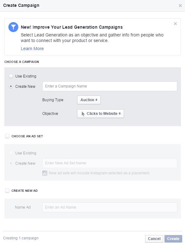 Power Editor Facebook Campaña de creación de anuncios