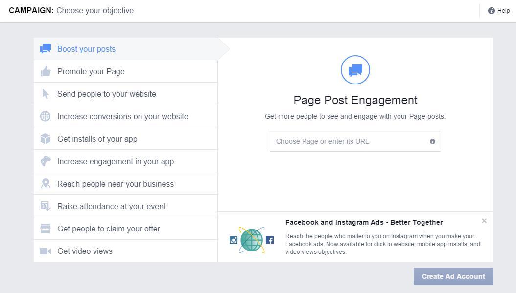Facebook  Objetivo promocionado por la campaña publicitaria