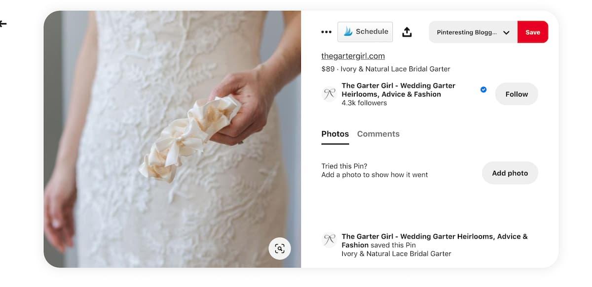 captura de pantalla de Pinterest catalogar