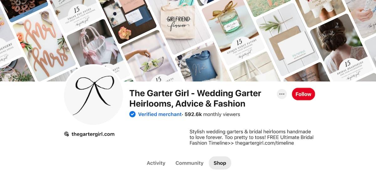 captura de pantalla de Pinterest perfil para la Garter Girl