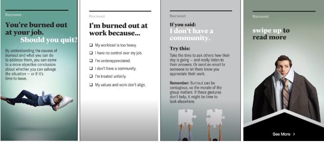 Historia de Instagram de Harvard Business review con deslizar hacia arriba