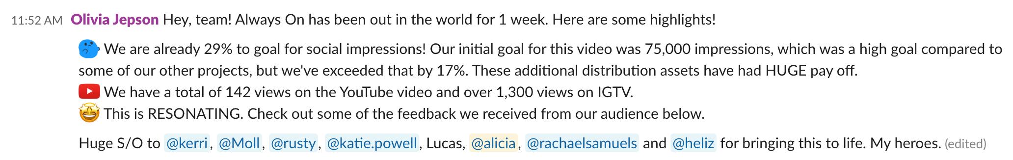 Mensaje flojo que comparte la primera semana de resultados sociales para una campaña de video