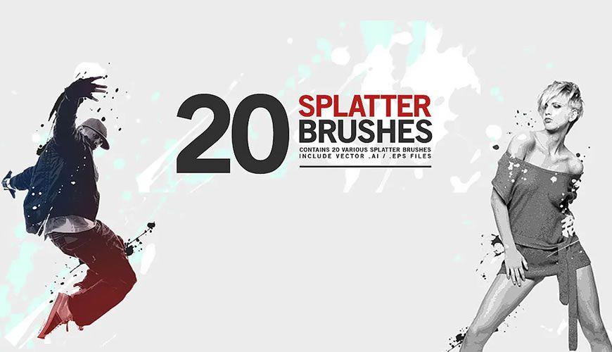 Blekkmaling spruter gratis Photoshop-børster