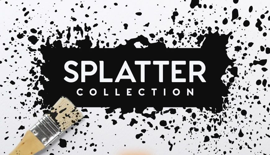 Innsamling av blekkmaling sprut Photoshop gratis børster