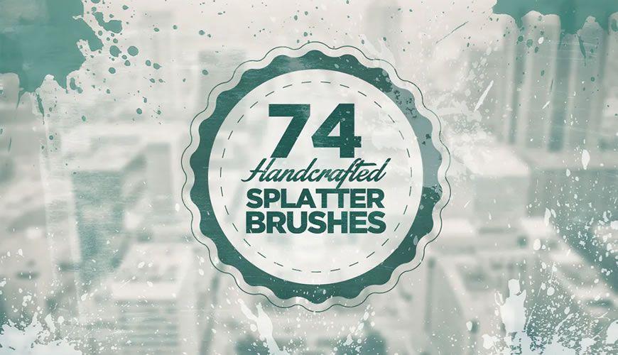 Håndlagde blekkmaling spruter gratis Photoshop-børster