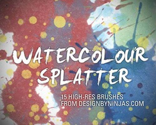 Akvarellfargeblekk sprutfrie Photoshop-børster