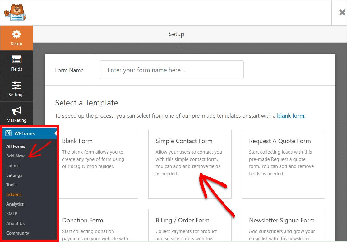 seleccione una plantilla de formulario de contacto simple para crear un control deslizante de rango