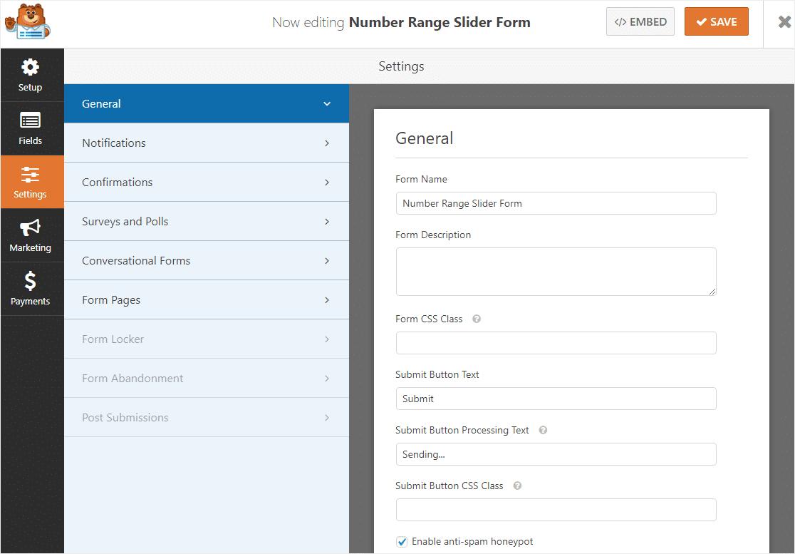 personalizar la configuración del formulario