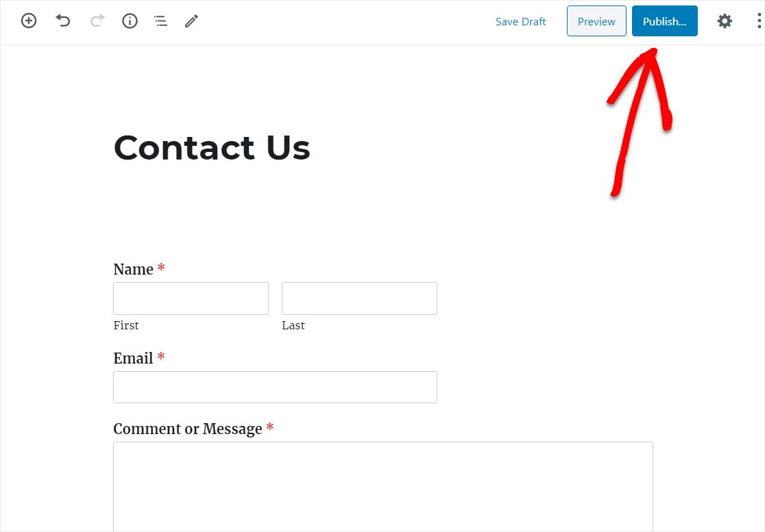 publicar formulario en su sitio de wordpress