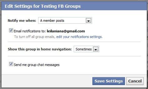 Facebook    Cài đặt nhóm