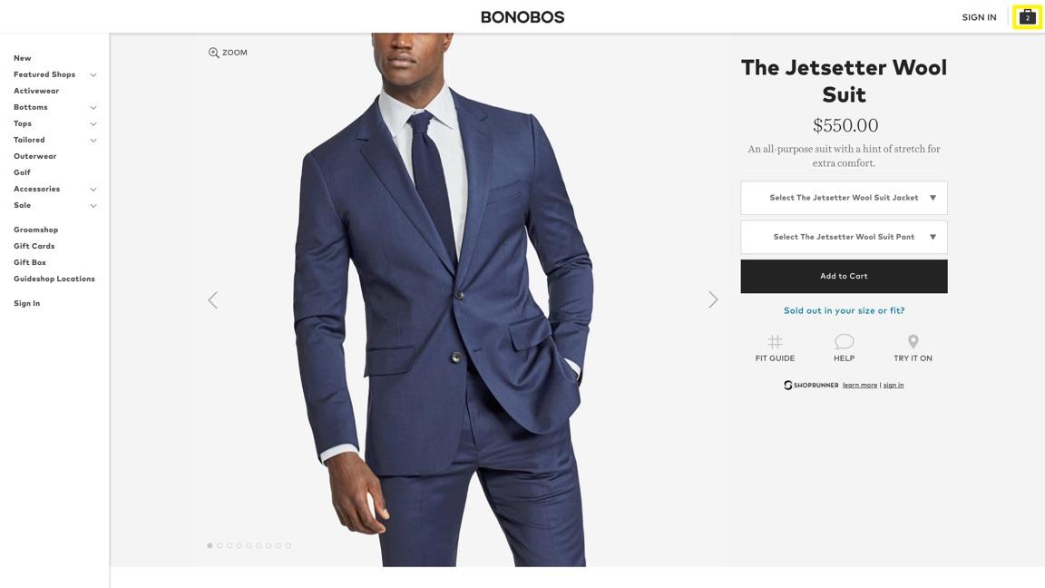 página de producto de traje de lana bonobos